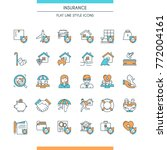 flat line design icons set on... | Shutterstock .eps vector #772004161
