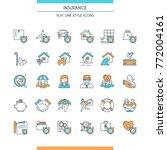 flat line design icons set on... | Shutterstock .eps vector #772004161