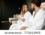 romantic couple enjoying...   Shutterstock . vector #772013905