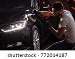 polished black car polishing...   Shutterstock . vector #772014187