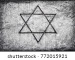 star of david on the cement... | Shutterstock . vector #772015921