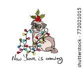 dog   pug. christmas garland.... | Shutterstock .eps vector #772021015