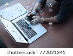close up of businessman working ... | Shutterstock . vector #772021345