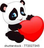 cute funny baby panda  and red... | Shutterstock . vector #772027345