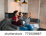 young beautiful couple in love... | Shutterstock . vector #772028887