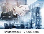 double exposure of business... | Shutterstock . vector #772034281