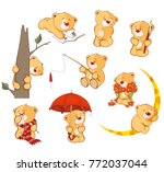 set of vector cartoon... | Shutterstock .eps vector #772037044