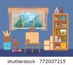 art studio interior colorful... | Shutterstock .eps vector #772037215