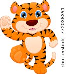 cute baby tiger cartoon | Shutterstock . vector #772038391
