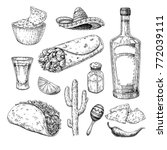 mexican cuisines drawing.... | Shutterstock .eps vector #772039111