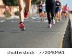 marathon runners running on...   Shutterstock . vector #772040461