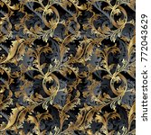 gold 3d baroque vector seamless ... | Shutterstock .eps vector #772043629