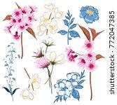 set of  vector  beautiful... | Shutterstock .eps vector #772047385