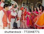indian groom dressed in white... | Shutterstock . vector #772048771