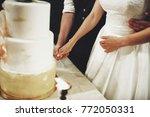 newlyweds hug cutting a wedding ... | Shutterstock . vector #772050331