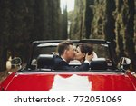 look from behind at wedding... | Shutterstock . vector #772051069