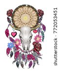 Beautiful hand drawn sketch illustration- the skull of a bull. Boho style print with feathers.Bohemian vector design element. Indian Dream catcher.