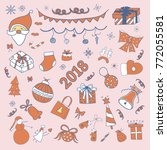 new year and christmas doodles | Shutterstock .eps vector #772055581