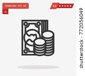 outline cash icon isolated on...