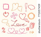 crayon valentine heart symbols... | Shutterstock .eps vector #772057459