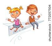 a schoolboy and a schoolgirl...   Shutterstock .eps vector #772057504