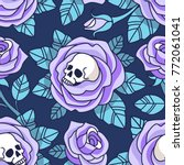 gothic floral pattern. vector... | Shutterstock .eps vector #772061041