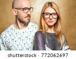 fashion hipster couple in love... | Shutterstock . vector #772062697