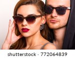 beautiful fashion couple with... | Shutterstock . vector #772064839