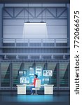programmer in data center room... | Shutterstock .eps vector #772066675