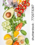 healthy clean eating layout ... | Shutterstock . vector #772073287