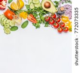 healthy clean eating layout ... | Shutterstock . vector #772073335
