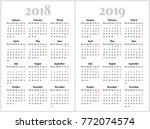 simple calendar for 2018 and... | Shutterstock .eps vector #772074574