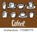 vector set with coffee cups | Shutterstock .eps vector #772089775
