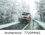 front view of snowplow service... | Shutterstock . vector #772094461