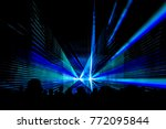 blue laser show nightlife club... | Shutterstock . vector #772095844