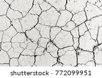 white dried and cracked ground... | Shutterstock . vector #772099951