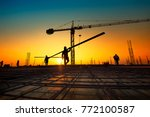 silhouette construction workers ... | Shutterstock . vector #772100587