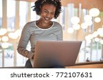 smiling young african college... | Shutterstock . vector #772107631