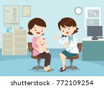 family to see doctor sitting at ... | Shutterstock .eps vector #772109254