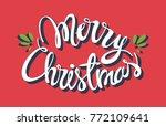 merry christmas white hand... | Shutterstock .eps vector #772109641