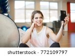 young fitness vlogger with... | Shutterstock . vector #772109797