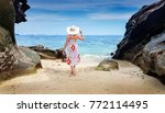 woman on the krabi island... | Shutterstock . vector #772114495