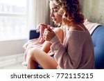 close up lifestyle portrait of  ... | Shutterstock . vector #772115215