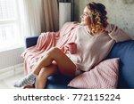 happy woman drinking   coffee... | Shutterstock . vector #772115224