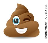 pile of poo wink emoji icon... | Shutterstock .eps vector #772115611
