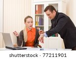 Businessman and businesswoman discuss working hours moments - stock photo