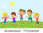 kids boys and girls are jumping ... | Shutterstock .eps vector #772126324