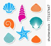 Vector Sea Shells And Starfish...