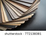 Set of wooden laminated construction planks for choosing tipe of furniture decor. Set of laminated chipboard samples.