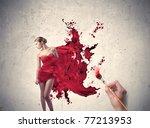 man's hand painting the elegant ... | Shutterstock . vector #77213953